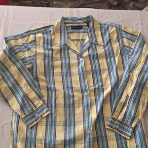 Karen Scott 100% cotton button down, size L